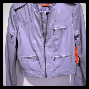 Alice + Olivia - Small Grey Crop Leather Jacket